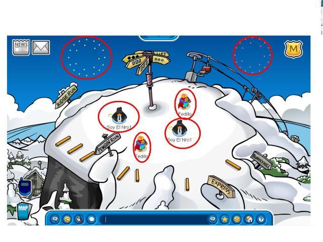 Como pueden ver hay unos fuegos artifciales detras de esos 4 penguins que no se porque estan repetidos por eso los eñale